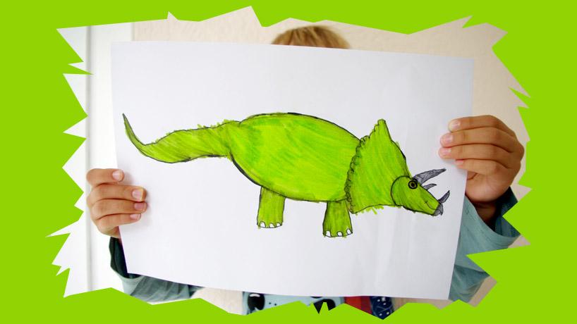 apprends à dessiner un tricératops et les dinosaures étape par étape