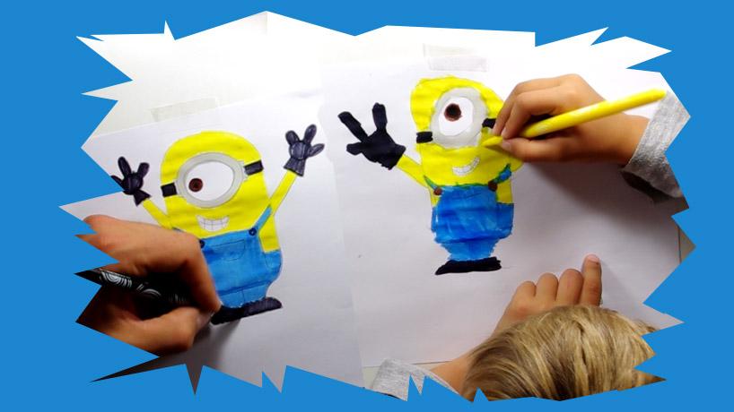 Cours de dessin en vidéo pour voir comment dessiner un minion aux enfants