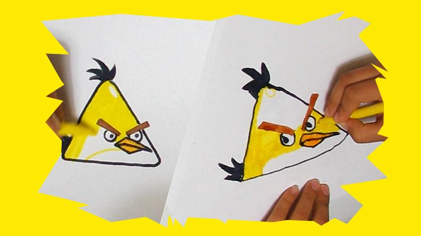 comment dessiner l'oiseau jaune d'angry birds appelé chuck