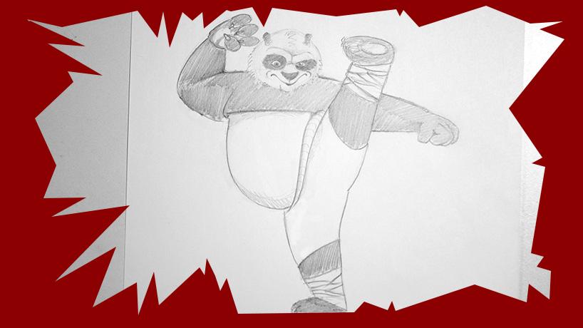 voici un cours de dessin pour apprendre à dessiner po du film kung fu panda, et de savoir créer un coloriage animaux à partir du dessin.