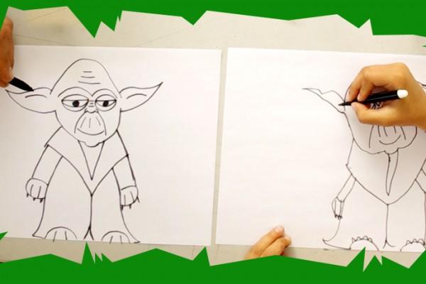 Voici un cours de dessin et une activit pour enfant ludique pour dessiner yoda le h ros de star - Comment dessiner un enfant ...