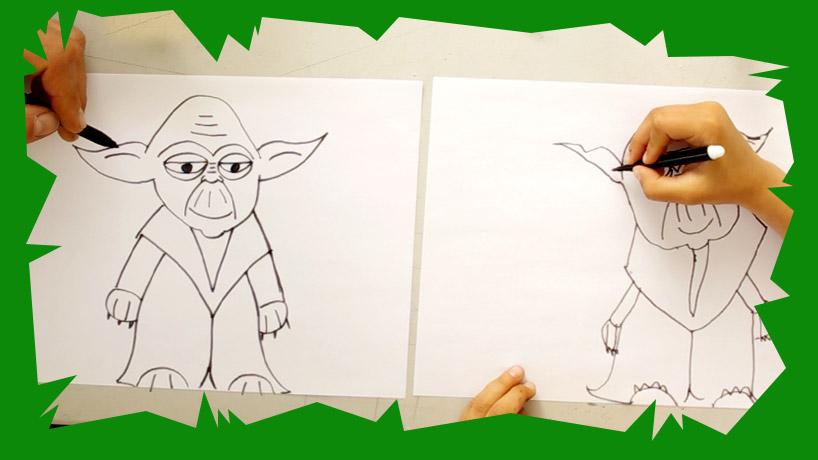 Voici un cours de dessin et une activité pour enfant ludique pour dessiner yoda le héros de star wars et ensuite faire votre coloriage.