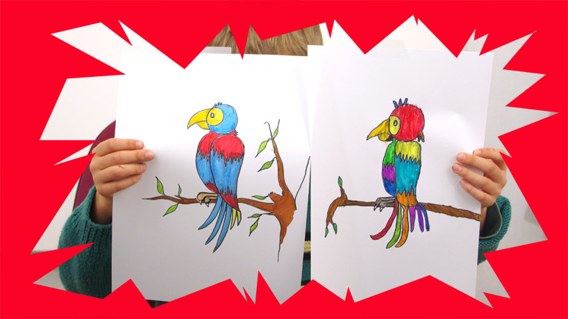 Cours de dessin pour enfants peintures coloriages - Dessiner un perroquet ...