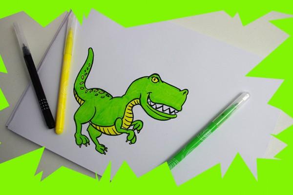 Voici une m thode pour dessiner un t rex facilement et cr er un dessin colorier pour les - Modele dessin dinosaure ...